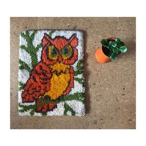 True Vintage Handmade Owl Rug/Wall Hanging